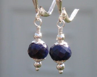 ROYAL WEDDING- Simple Sterling Silver and Genuine Faceted Sapphire Earrings - Handmade by DORANA - Bridal - A Perfect Something Blue