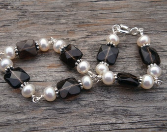 M.A.D.D.  ABOUT  YOU Wire-Wrapped Bracelet - Freshwater Pearls & Genuine Smoky Quartz in Sterling Silver - Handmade by Dorana