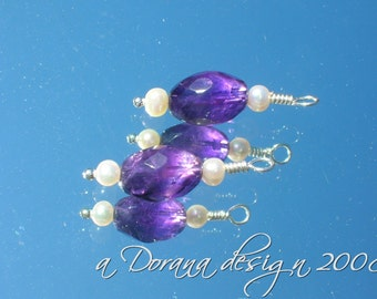 Purple and White - myDesign Interchangeable Charms for Stitch Markers- Freshwater White Pearls and Genuine Amethyst in Sterling Silver - a Dorana design
