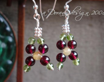 STRAWBERRIES and CREAM COLLECTION myBouquet Beaded Floral Design Garnet, Aragonite, Peridot & Sterling Silver Earrings - Handmade by Dorana