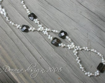M.A.D.D.  ABOUT  YOU Woven Custom Necklace - Freshwater Pearls and Genuine Smoky Quartz in Sterling Silver - a Dorana design