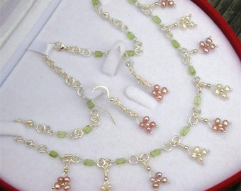 "FORGET PARIS Bridal Collection- myBouquet Beaded Floral Design - Pearl, Peridot, Sterling Silver Necklace & Earrings ""Handmade by DORANA"""