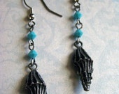 READY TO SHIP - Sale - Seashell Earrings with Turquoise Swarovski - Nautical Beach Sea Ocean Lake Shell Summer - Bella Mia Beads