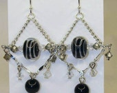 READY TO SHIP - Giselle Gypsy Earrings - Swarovski Crystal Silver Black White Stripe Dangle - Bella Mia Beads