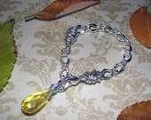 READY TO SHIP - Britney Briolette Wire Wrapped Bracelet - Silver and Yellow - Bella Mia Beads