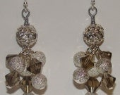 READY TO SHIP - Divina Earrings - Silver Swarovski Crystal Rhinestone Glitter Cluster Bling Dangling Earrings - Bella Mia Beads