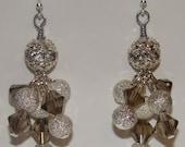 READY TO SHIP - Sale - Divina Earrings - Silver Swarovski Crystal Rhinestone Glitter Cluster Bling Dangling Earrings - Bella Mia Beads