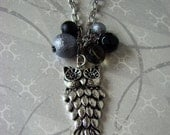 READY TO SHIP - Silver Owl Necklace - Black Velvet and Shiny Black Gray Round Cluster of Beads - Bella Mia Beads