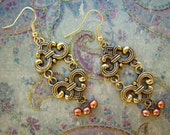 READY TO SHIP - Fancy Shmancy Gold Filigree Dangle Earrings with Copper Pearls - Bella Mia Beads