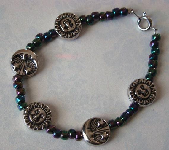 READY TO SHIP - Sale - Sky Bracelet - Silver Moon, Stars and Sun - Night Day - Bella Mia Beads