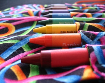 Black Loops and Twirls Travel Crayon Holder