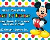 Mickey Mouse Printable Digital Invitation Custom Personalized Birthday Invitations
