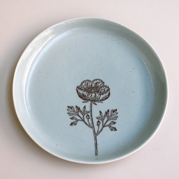 7.5-inch breakfast, salad, or dessert plate with ranunculus, in ocean blue