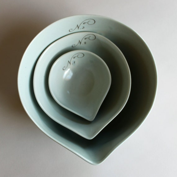 gourd bowls in ocean blue, set of three, with calligraphy numbers 1-3