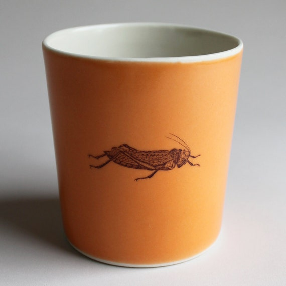 grasshopper tumbler, 14oz, in sunset orange