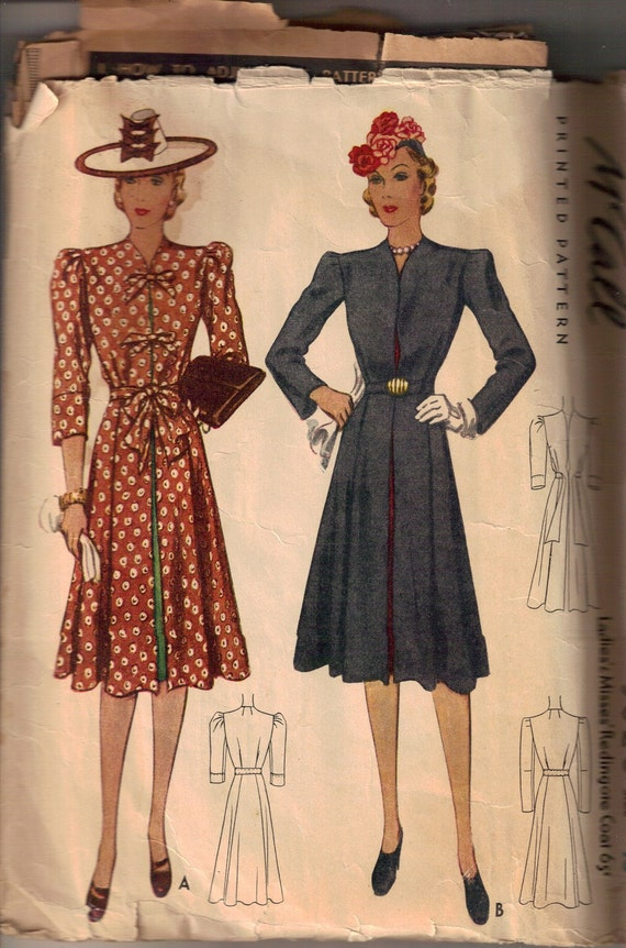 Vintage 1940s McCalls Redingate Coat Dress Pattern
