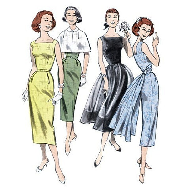 Retro 1952 Butterick 5032 Sheath With Overskirt And Capelet