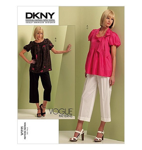 Vogue 1111 DKNY Babydoll Top and Crop Pants Pattern Size 6-12