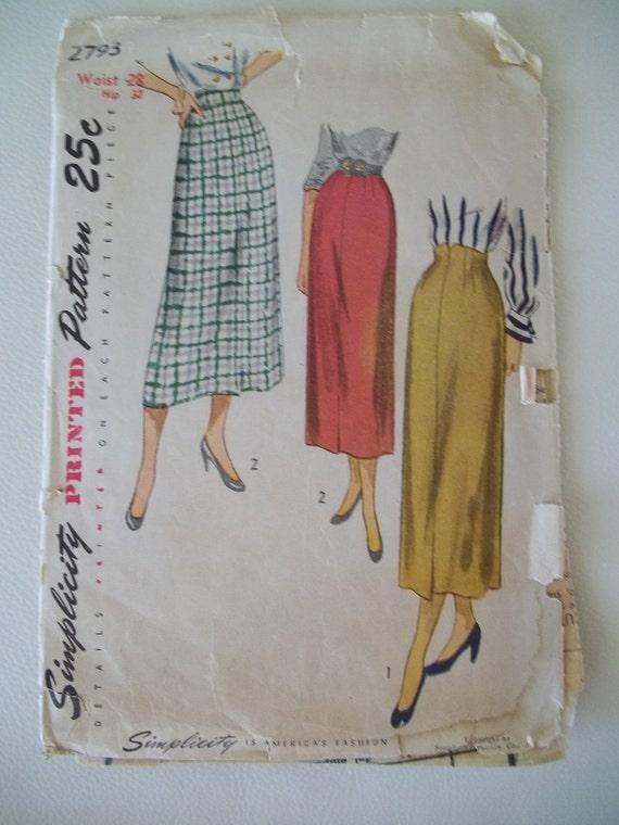 Vintage 1950s Straight Skirt Pattern Simplicity 2793