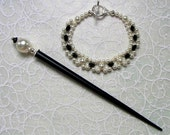 Hair Stick, Bracelet Set Black and White Ball Pearl and Crystal