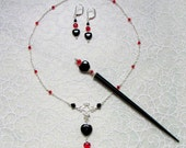 Hair Stick, Necklace and Earring Set Gothic Queen of Hearts