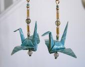 Tea Green Origami Crane Earrings