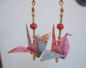 Pink and Blue Blossom Origami Crane Earrings