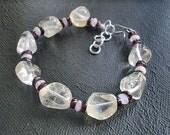 Citrine, garnet, and moonstone bracelet (V)