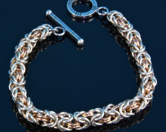 Handmade Sterling Silver and Rose Gold Byzantine Pattern Chainmaille Bracelet  by BluDragonfly SRA