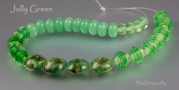 Jolly Green - Handmade Lampwork Beads - BluDragonfly SRA