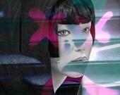 Mannequin Portrait Photo Collage Female Face Print - Angel of Revenge