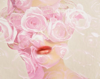 Pink Roses Photography Collage Abstract Female Face Mannequin Art Photograph