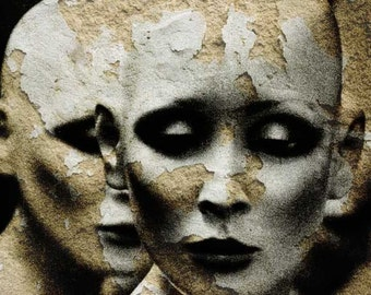 Art Photography Mannequin Portrait Female Face Print Collage Art Black and White - Playing With Fire