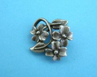 Vintage Pewter Flower Pin