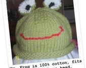 Mr Frog Hat, sized for premies or newborn made from 100 percent cotton yarn