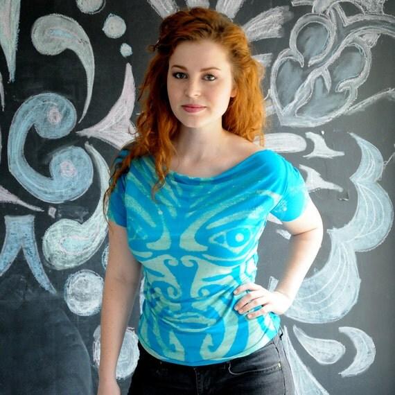 Custom Blue Maori Net Insert Tshirt Handsewn