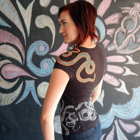Black Snake Tshirt for Women Hand Embellished medium