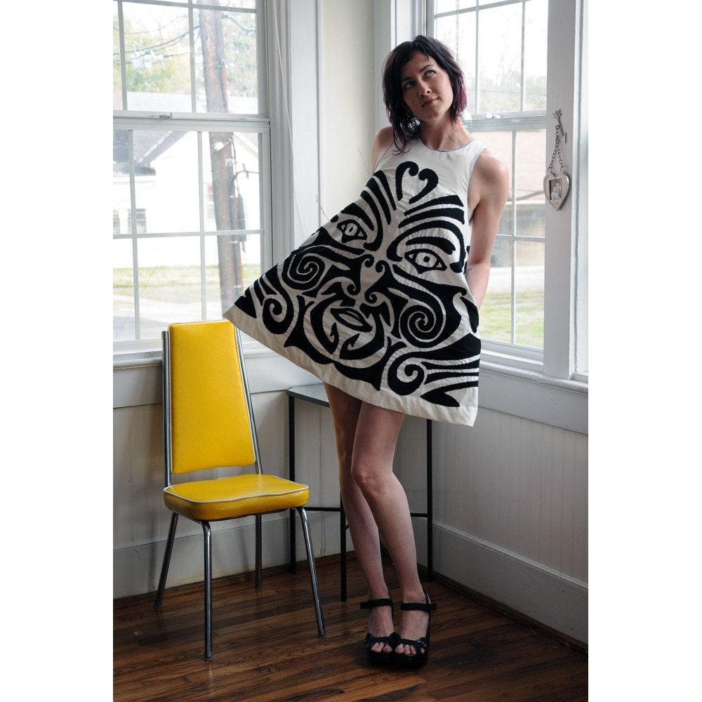 Maori Mini Dress Handsewn Applique EcoFashion by Toolgrrl on Etsy
