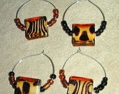 Set of 4 wine charms - Animal print