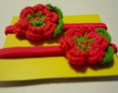Crochet flower pony tail holders - set of 2