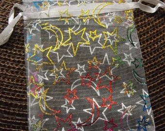 12 Pc 2.75X3 Inch Drawstring White Organza Multiple Color Moon and Stars Bags great for Sachets, Party Favors, Gift packaging, etc.