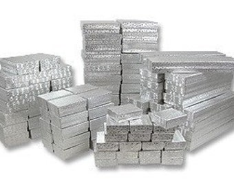 50 Assorted Size Silver Foil Cotton Filled Boxes