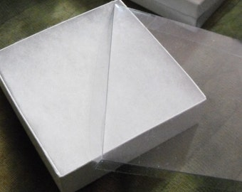 20 Pack 3.5X3.5X1 inch Clear Top White Foil Swirl Cotton Filled Jewelry Retail Gift Boxes