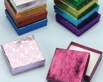 20 Pack Multi Color 3.5 X 3.5 X 1 Inch size Foil Embossed Cotton Filled Jewelry Retail Gift Boxes