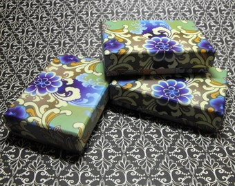 20 Pack Blue and Purple Design Origami Style Floral Pattern 3.25X2.25X0.65 Inch Sized Cotton Filled Jewelry Presentation Boxes