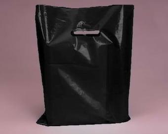 50 Pack Black Handled 9 X 12 inch Pleastic Merchandise Bags