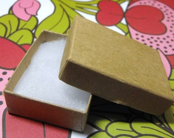 100 Pack Kraft Brown Cotton Filled 11 Size Cotton Filled Boxes 1  7/8 Inch by 1  1/4 inch by 5/8 Inch Size
