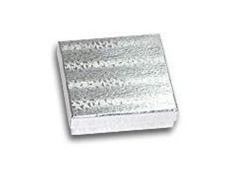 50 Pack Silver Foil 3.5 X 3.5 X 1 Inch  Size Cotton Filled Jewelry Presentation Gift Boxes