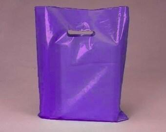 50 Pack Handle Cut Out Opaque Purple Plastic Merchandise Retail Bags