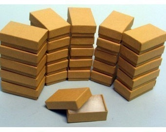 50 Pack of 3.25X2.25X1 Inch Size Kraft Paper Cotton Filled Jewelry Presentation Boxes